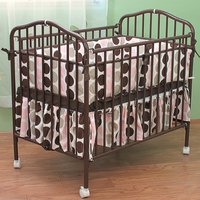 L.A. Baby CS-81 24 inch x 38 inch Chocolate Colored Metal Folding Crib with 2 inch Flame Retardant Mattress