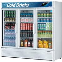 Turbo Air TGM-72SD 78 inch Super Deluxe Three Section Glass Door White Merchandising Refrigerator - 71.3 cu. ft.