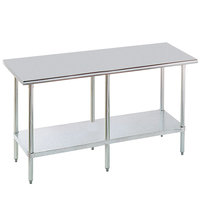 Advance Tabco MG-368 36 inch x 96 inch 16 Gauge Stainless Steel Commercial Work Table with Galvanized Steel Undershelf