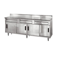 Advance Tabco SDRC-307 30 inch x 84 inch 14 Gauge Enclosed Base Stainless Steel Work Table with 3 Drawers, 4 Sliding Doors and 5 inch Backsplash