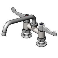 Equip by T&S 5F-4DWX08 Deck Mount Faucet with 4 inch Centers, 6 inch Swing Spout, and 4 inch Wrist Action Handles