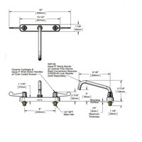 Equip by T&S 5F-8CWX08 Deck Mount Faucet with 8 inch Centers, 8 inch Swing Nozzle, and 4 inch Wrist Action Handles