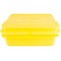 Vollrath 1551-C08 Traex Color-Mate Yellow 20 inch x 15 inch x 5 inch Food Storage Drain Box Set with Snap-On Lid