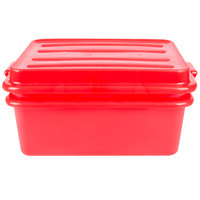 Vollrath 1535-C02 Traex Color-Mate Red 20 inch x 15 inch x 7 inch Food Storage Drain Box Set with Snap-On Lid