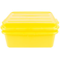 Vollrath 1535-C08 Traex Color-Mate Yellow 20 inch x 15 inch x 7 inch Food Storage Drain Box Set with Snap-On Lid