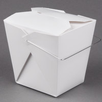 Fold-Pak 26WHWHITEM 26 oz. White Chinese / Asian Paper Take-Out Container with Wire Handle - 500 / Case