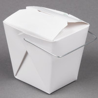 Fold-Pak 08WHWHITEM 8 oz. White Chinese / Asian Paper Take-Out Container with Wire Handle - 1000 / Case