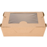 Bio-Plus View 03BPVWERTM 8 inch x 6 inch x 2 1/2 inch Kraft Microwavable Paper #3 Take-Out Container   - 160/Case