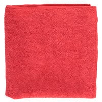 16 inch x 16 inch Red Microfiber Cleaning Cloth - 12/Pack