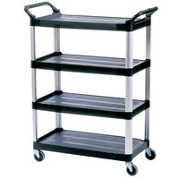 Rubbermaid FG409600BLA Black Xtra Four Shelf Cart with Open Sides