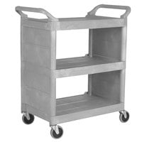 Rubbermaid FG335588BEIG Platinum Bussing Cart with Enclosed End Panels