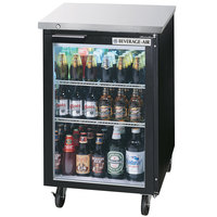 Beverage Air BB24GF-1-B-LED 24 inch Black Food Rated Glass Door Back Bar Cooler - 7.8 Cu. Ft.