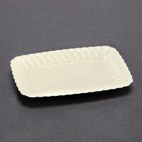 Fineline Flairware 257BO Bone 5 inch x 7 inch Plastic Snack Tray - 18 / Pack