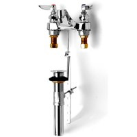 T&S B-0870-CR Deck Mount Centerset Mixing Faucet with 4 inch Centers, Cerama Cartridges, and Pop Up Drain Assembly