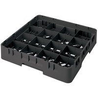 Cambro 16S1058110 Camrack 11 inch High Black 16 Compartment Glass Rack