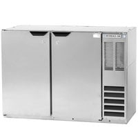 Beverage Air BB48YF-1-S 48 inch Back Bar Refrigerator with Stainless Steel Exterior and 2 Solid Doors - 115V