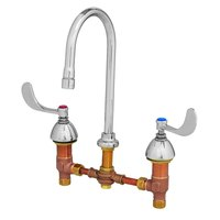 T&S B-0867-04-WS Deck Mount Mixing Faucet with 8 inch Adjustable Centers, 10 11/16 inch Gooseneck, 4 inch Wrist Action Handles, and Eterna Cartridges