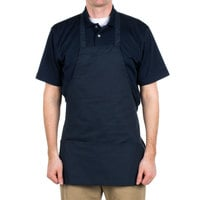 Choice Navy Full Length Bib Apron with Pockets - 25 inchL x 28 inchW