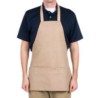 Choice Khaki / Beige Full Length Bib Apron with Pockets - 25 inchL x 28 inchW