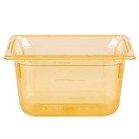 Vollrath 9046410 1/4 Size Amber High Heat Food Pan - 6 inch Deep