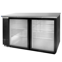 Beverage Air BB58GF-1-B-LED 59 inch Black Food Rated Glass Door Back Bar Cooler with Two Doors - 23.8 Cu. Ft.