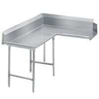 Advance Tabco DTC-K70-120 Standard 10' Stainless Steel Korner Clean L-Shape Dishtable
