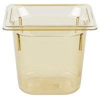 Vollrath 9066410 1/6 Size Amber High Heat Food Pan - 6 inch Deep