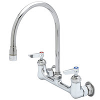 T&S B-2444 Wall Mount Mixing Faucet with 8 inch Adjustable Centers, 9 1/2 inch Gooseneck, Spring Checks, and Eterna Cartridges
