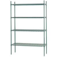 Advance Tabco EGG-1448 14 inch x 48 inch x 74 inch NSF Green Epoxy Coated Wire Shelving Combo