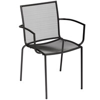 BFM Seating DV548A Abri Outdoor Stackable Mesh Arm Chair with Anthracite Finish