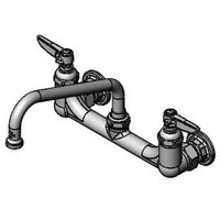T&S B-2414 Wall Mount Mixing Faucet with 8 inch Adjustable Centers, 8 inch Swing Nozzle, and Eterna Cartridges
