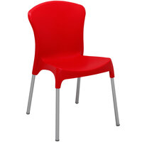 BFM Seating SA21527RD Lola Outdoor / Indoor Stackable Resin Side Chair - Red