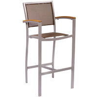 BFM Seating PH101BTPSV Delray Outdoor / Indoor Silver Aluminum Bar Height Arm Chair with Taupe Batyline Seat and Back