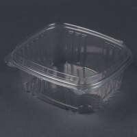 Genpak AD32F 7 1/4 inch x 6 3/8 inch x 3 inch  32 oz. Clear Hinged Deli Container with High Dome Lid – 100 / Pack