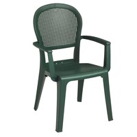 Grosfillex Seville Highback Stacking Resin Armchair - Metal Green