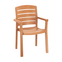 Grosfillex 46119008 / US119008 Acadia Teakwood Classic Stacking Resin Armchair
