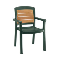 Grosfillex Aquaba Classic Stacking Resin Armchair - Amazon Green