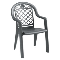 Grosfillex US103102 / US413102 Savannah Charcoal Highback Stacking Resin Armchair