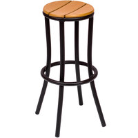 BFM Seating MS607STBL Norden Outdoor / Indoor Stackable Black Aluminum and Synthetic Teak Barstool