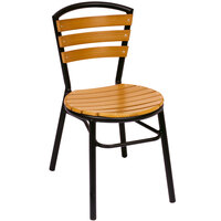 BFM Seating MS308STKBL Norden Outdoor / Indoor Stackable Black Aluminum and Synthetic Teak Side Chair