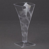 Fineline Tiny Temptations 6409-CL 2 oz. Tiny Barware Clear Plastic Square Champagne Flute - 8/Pack