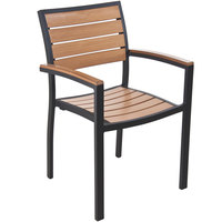 BFM Seating PH101CTKBL Largo Outdoor / Indoor Stackable Synthetic Teak Black Arm Chair