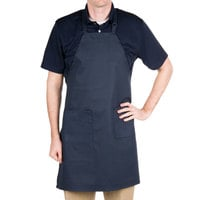 Choice Navy Full Length Bib Apron with Adjustable Neck with Pockets- 32 inchL x 28 inchW