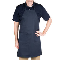 "Choice Navy Full Length Bib Apron with Adjustable Neck with Pockets- 32""L x 28""W"