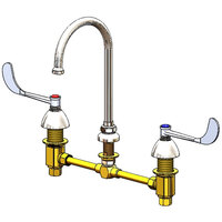 T&S B-2866-L Deck Mount Commercial Faucet with 12 inch Centers, 10 5/8 inch Gooseneck, and 6 inch Wrist Action Handles