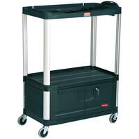 Rubbermaid FG9T3400BLA Black MediaMaster 36 inch AV Cart with Three Shelves, Cabinet, and 4 inch Casters