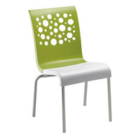 Grosfillex US021152 Tempo Indoor Stacking Resin Chair with Fern Green Back and White Seat - 4/Pack