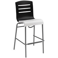 Grosfillex Domino Indoor Stacking Resin Barstool with Black Back and White Seat