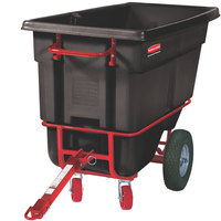 Rubbermaid FG130641BLA Black 0.5 Cubic Yard Towable Trainable Tilt Truck (1400 lb.)