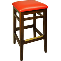 BFM Seating LWB680WARDV Trevor Walnut Wood Barstool with 2 inch Red Vinyl Seat